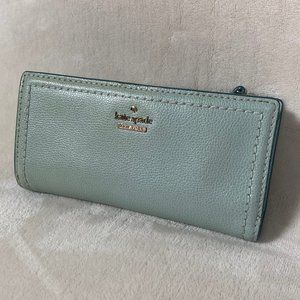 Kate Spade Blue Green Leather Snap Closure Bifold Wallet